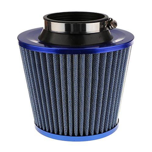non-brand Filtro de Aire para Coche, Kit de Admisión de Aire Frío Universal Cónico Redondo, 3 Pulgadas - Azul