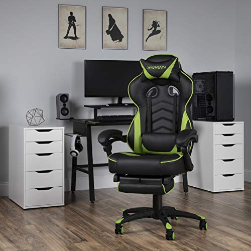 RESPAWN 110 Racing Style Gaming Chair, Reclining Ergonomic Chair with Footrest, in Green (RSP-110-GRN)