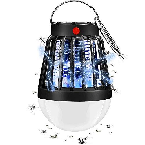 WXH-00 Mosquito Killer Camping Lámpara de campaña lámpara de Plaga electrónica Lámpara asesina con Gancho retráctil Adecuado para Interiores y Exteriores (Negro)