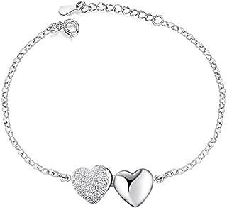 Corykeyes 925 Sterling Silver Double Heart Bracelet for Women Girls