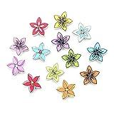 ZJDY Fleur Boutons en Bois for Les vêtements Scrapbooking Accessoires Bouton décoratif Bricolage Artisanat Fournitures Couture Botao 20 mm (Color : Multi-Colored)