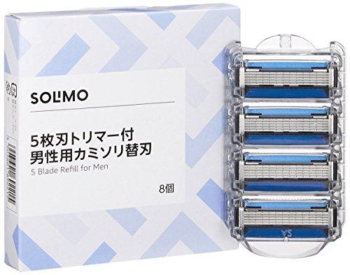 スマートマットライト [Amazonブランド]SOLIMO 5枚刃 トリマー付 男性用 カミソリ替刃8個