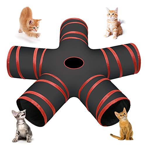 Cozy Vibe Tunnel Gatto,Pieghevole 5 Vie Cat Tunnel,per Gatto,Cani,Conigli,Animali Domestici,Tunnel Gatto Adatto per Uso Interno ed Esterno (Rosso)