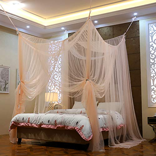 Mengersi 4 Corner Post Elegant Mosquito Net Curtain Bed Canopy for Full Queen King Bed,Suitable for Indoor Outdoor Net(Peach, L87xW79xH98 inch)