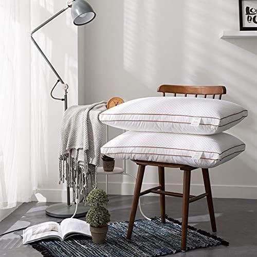 AYDQC Almohadas del Hotel for Dormir, Suave Alternativa Alternativa al Alternativa con una Cubierta a Prueba de inactivos de Almohada 100% algodón, Conjunto Blanco de 2 estándar fengong
