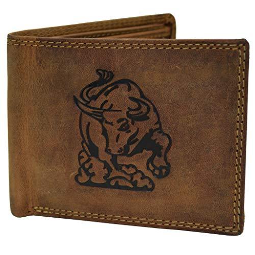 Portemonnaie RFID Schutz Geldbörse mit Büffel/Stier Prägung