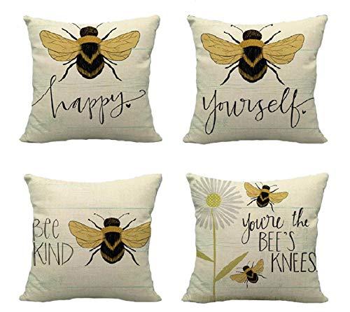 Lucasng Funda de cojín con diseño de abeja amarilla para sofá, decoración del hogar, oficina, 45,7 x 45,7 cm, 4 piezas
