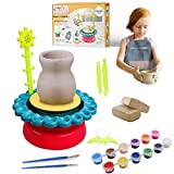 BuddynBuddies- Pottery Studio, Clay Pottery Wheel Craft Kid for Kids Age 8 and Up, Air Dry Sculpting Clay and Craft Paint kit for Kids, Educational Toy for Kids Beginners (Red)