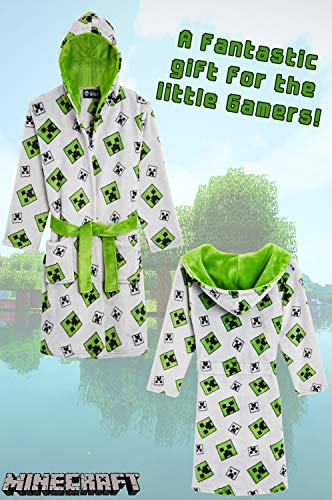 Minecraft Dressing Gown Boys, Kids Fleece Hooded Dressing Gowns Kids with Creeper Design, Super Soft Children Robes, Official Merchandise, Gifts for Gamers Boys Girls (Grey, 5-6 Years)