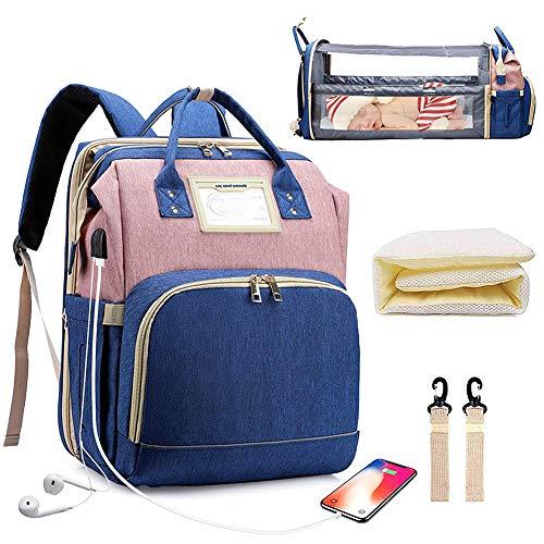 YT Bolsa de Pañales Mochila Bolsa de Pañales Multifunción con Cama Plegable y Colchón, Bolsas de Viaje para Pañales para Bebés de Gran Capacidad con Puerto de Carga USB, Impermeable,Blue Pink