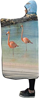 YUMOING Hooded Blanket Four Flamingos On Beach Blanket 60x50 Inch Comfotable Hooded Throw Wrap