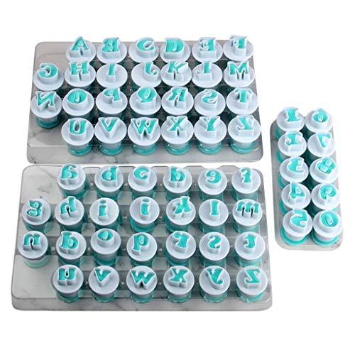 Conjunto de moldes de pastel de fondant en forma de mayúsculas, minúsculas y 10 piezas de plástico de alta calidad de la FDA