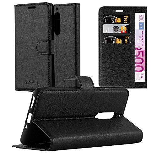 Cadorabo Hülle für Nokia 5 in Phantom SCHWARZ - Handyhülle mit Magnetverschluss, Standfunktion & Kartenfach - Hülle Cover Schutzhülle Etui Tasche Book Klapp Style