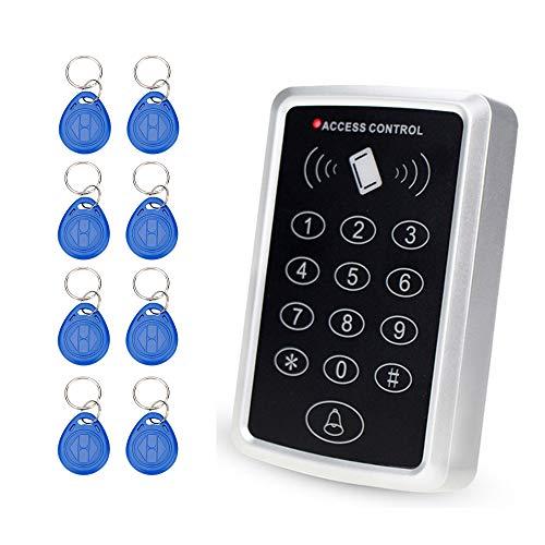 OBO HANDS RFID 125 KHz Puerta Acceso Control Sistema 1000 Usuarios Teclado RFID con 10 Piezas RFID Llaveros (T11)