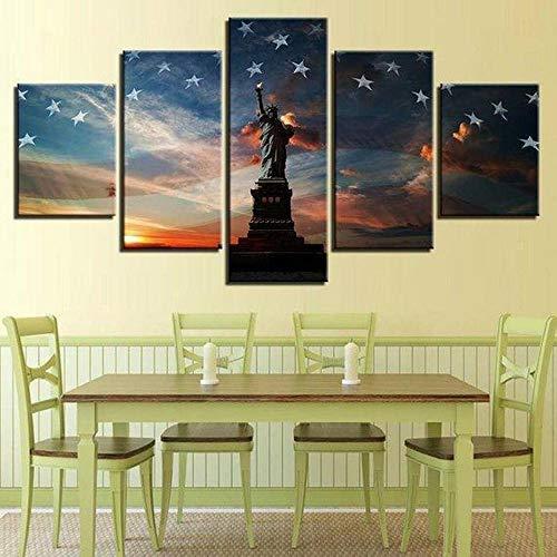 Decoracion Salon Modernos 5 Piezas Lienzo Grandes murales Pared hogar Pasillo Decor Arte Pared Cuadro Estatua de Liberty USA Flag Resumen Starry Sky Sunset Fotos HD Impresión Carteles Innovado