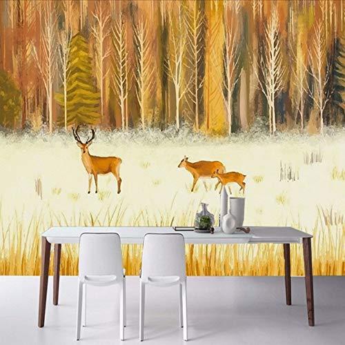 Wuyii fotobehang met de hand geschilderd Freske Bos hert aangepaste woonkamer tv achtergrond decoratie schilderij 350x250cm