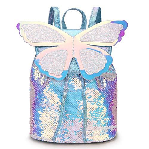 zhishen Mochila colorida para niñas con lentejuelas y brillo de mariposa, mochila escolar para niñas, Mochila de viaje de cuero Pu con láser con holograma lindo-Plata