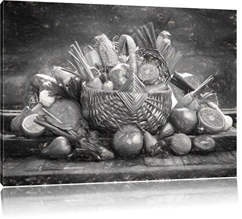 Pixxprint Obst und Gemüse im Korb ALS Leinwandbild/Größe: 80x60 cm/Wandbild/Kunstdruck/fertig bespannt