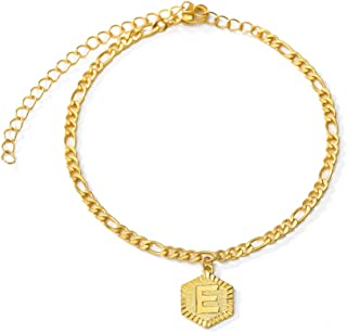 ATIMIGO 18k Gold Plated Initial Charm Anklet Foot Jewelry Adjustable Figaro Chain Link Letter Alphabet Ankle Bracelet for ...