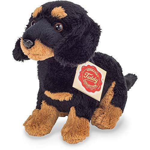 Teddy Hermann 91944 Hund Dackel sitzend schwarz-braun 19 cm, Kuscheltier, Plüschtier