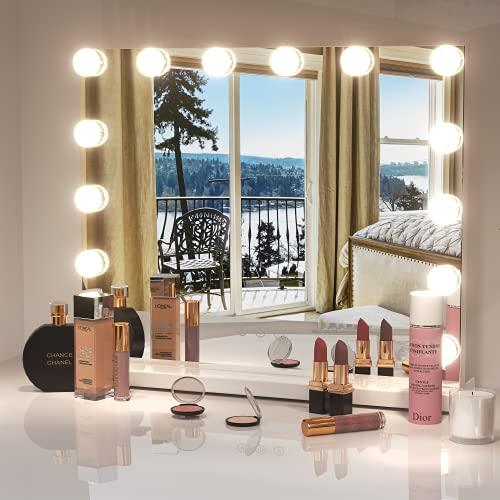 Dripex Hollywood Schminktischspiegel mit Beleuchtung, Make up Schminkspiegel, 3 Farbtemperatur Licht 14 Dimmer-LED-Leuchten, Schminkspiegel mit Touch Steuerung, 50 x 42 cm Weiß