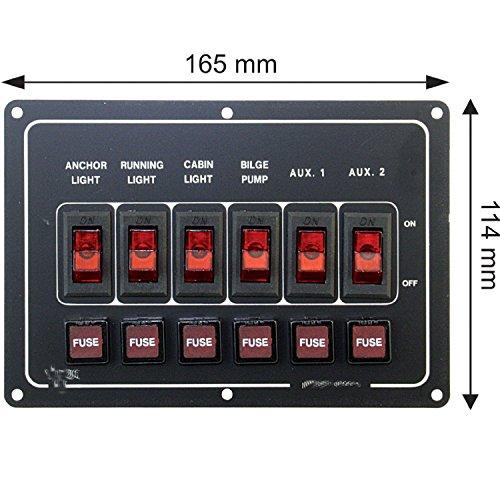 Mareteam Sicherungspaneel für Boote mit Beleuchtung - 6 Fach - horizontal