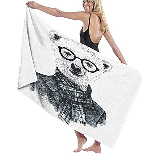 Toalla De Playa Toallas Baon,Dibujado A Mano Disfrazado De Oso Hipster con Gafas Toalla De Bao Altamente Absorbente para Bao Hotel Gimnasio SPA Travel70X140Cm (28X56 Pulgadas)
