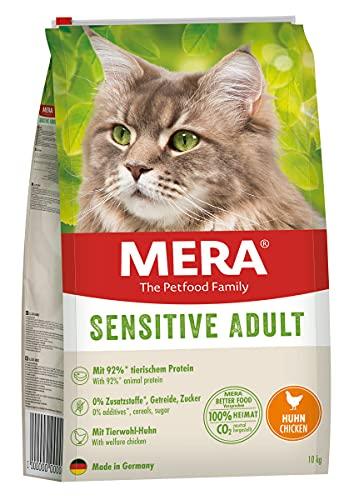 MERA Cats Sensitive Adult Huhn, Trockenfutter für Sensible Katzen, getreidefrei & nachhaltig, Katzentrockenfutter mit hohem Fleischanteil, 10 kg