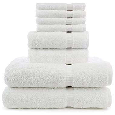 8 Piece Turkish Luxury Turkish Cotton Towel Set - Eco Friendly, 2 Bath Towels, 2 Hand Towels, 4 Wash Clothes by Turkuoise Turkish Towel (White)