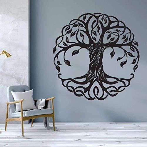 Wandsticker Abnehmbare Lebensbaum Wandtattoo Mandala Kreis Bäume Vinyl Wandbild Dekoration Yoga Wandkunst 57X57 cm