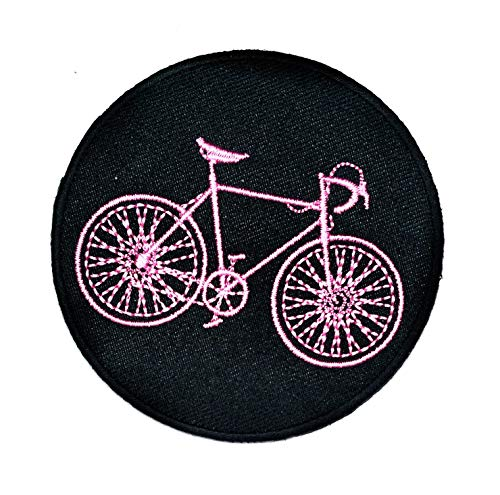 Circle Black Pink Bicycle Mountain Patch Embroidered Applique Iron on/Sew On Patch Sports car Racing Van Bus Motorbike Motorcycle Bicycle Mountain Classic Vintage MC Club Cartoon Patch Clothing (11)