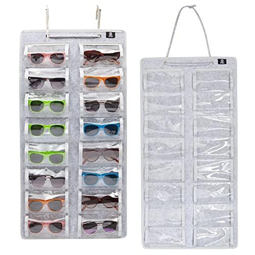 Soporte de fieltro para gafas de sol, para hasta 16 gafas de sol (15.7 x 31.5 pulgadas, gris)