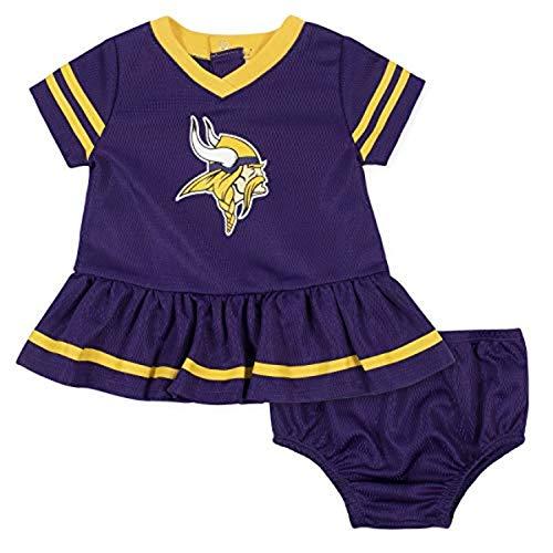 NFL Minnesota Vikings Girls DRESS AND DIAPER COVER, Team Color, 18M
