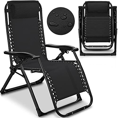 tillvex Sonnenliege klappbar mit Kopfkissen   Gartenliege verstellbar mit Stahlrahmen   Liegestuhl mit Verstellbarer Rückenlehne und Armlehnen (Schwarz)