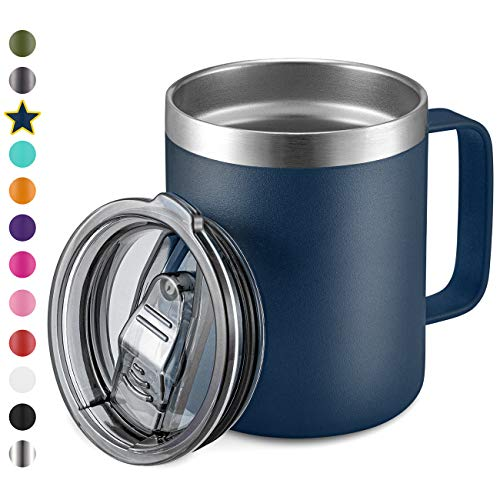 12oz Stainless Steel Insulated Coffee Mug with Handle Double Wall Vacuum Travel Mug Tumbler Cup with Sliding Lid Navy
