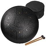 amkoskr tamburo in acciaio a 12 pollici 30 cm, steel tongue drum,c major 11 note,tamburo handpan, strumento a percussione con bacchette per tamburi e borsa, nero