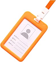 Fan-Ling Double-Sided Transparent Employee Work Card Holder,Portable Colorful Employee Plastic ID Card Holder Name Tag Lanyard Neck Strap,11 X 7cm (Orange)