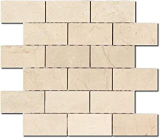 DX-1680 12x12 in. Sheet 2x4 in. Tiles Crema Marfil Marble Mosaics, Honed