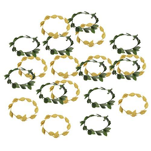 freneci 20x Mujeres Oro Verde Hoja Laurel Corona Tocado Diademas Vestido de Lujo Prop