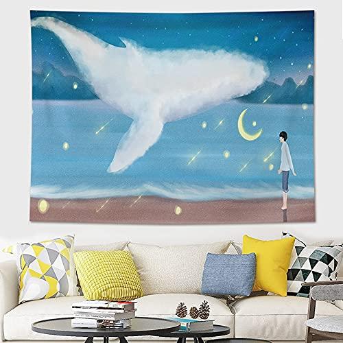 KHKJ Decoración para el hogar Impresión de Ballenas Tapices para Colgar en la Pared Estera de Yoga Manta Decoración de habitación estética Decoración Mural Decoración de habitación Linda A10 95x73cm