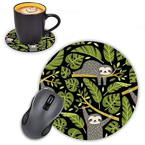 Log Zog Round Mouse Pad with Coasters Set, Cute Sloths and Tropical Palm Leaves Design Mouse Pad Non-Slip Rubber Mousepad Office Accessories Desk Decor Mouse Pads for Computers Laptop