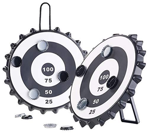 Playtastic Dart-Scheibe: 2er-Set Magnetische Kronkorken-Dartspiele mit je 6 Kronkorken, Ø 24 cm (Bier-Party-Artikel)