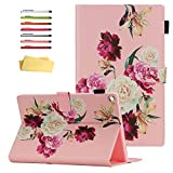 UUcovers for Amazon Kindle Fire HD 10 Tablet 2019/2017 Case 9th and 7th Generation 10.1' with Pencil Holder Card Slots [Auto Sleep/Wake] Folio Stand PU Leather Magnetic Smart Flip Cover, Pink Flower