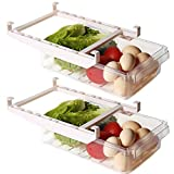 Shopwithgreen 2 Pack Refrigerator Organizer Bins with Handle, Pull-out Fridge Drawer Organizer, Freely Pullable Refrigerator Storage Box with 2 Divided Sections, Fit for 0.6'' Fridge Shelf