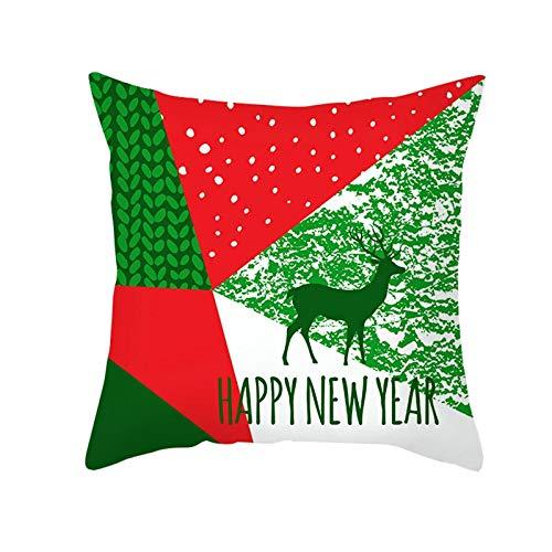 ANAZOZ 1 Funda Cojin 50x50,Fundas Cojines Poliéster Happy New Year Geométrico Rojo Verde