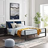 YOLENY Metal Bed Frame Queen Size,Heavy Duty Platform Bed Frame with Headboard, Modern Design Iron Bed Frame, Easy Assembly