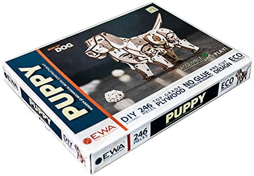 EWA Eco-Wood-Art Perro 3D mecánico de Madera-Puzzle para Adultos y Adolescentes-Montaje sin pegamento-246 Piezas, Color Naturaleza (Puppy)