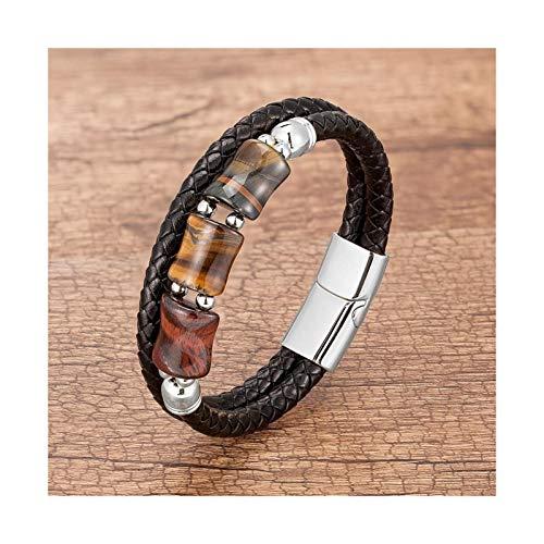 YNX MLKCL - Pulsera para hombre (longitud: 21 cm, color de metal: plata tres colro)