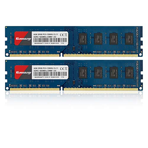 Kuesuny Módulo de memoria RAM de 8 GB (2 x 4 GB) DDR3 1600 MHz Udimm Ram PC3-12800 PC3-12800U 1,5 V CL11 240 pines 2RX8 de rango dual sin ECC sin búfer para ordenador de sobremesa