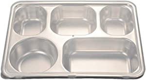 DOITOOL Stainless Steel Divided Plate for Adults or Kids, Rectangular 5 Sections Divided Tray for Serving Food (with Lids)